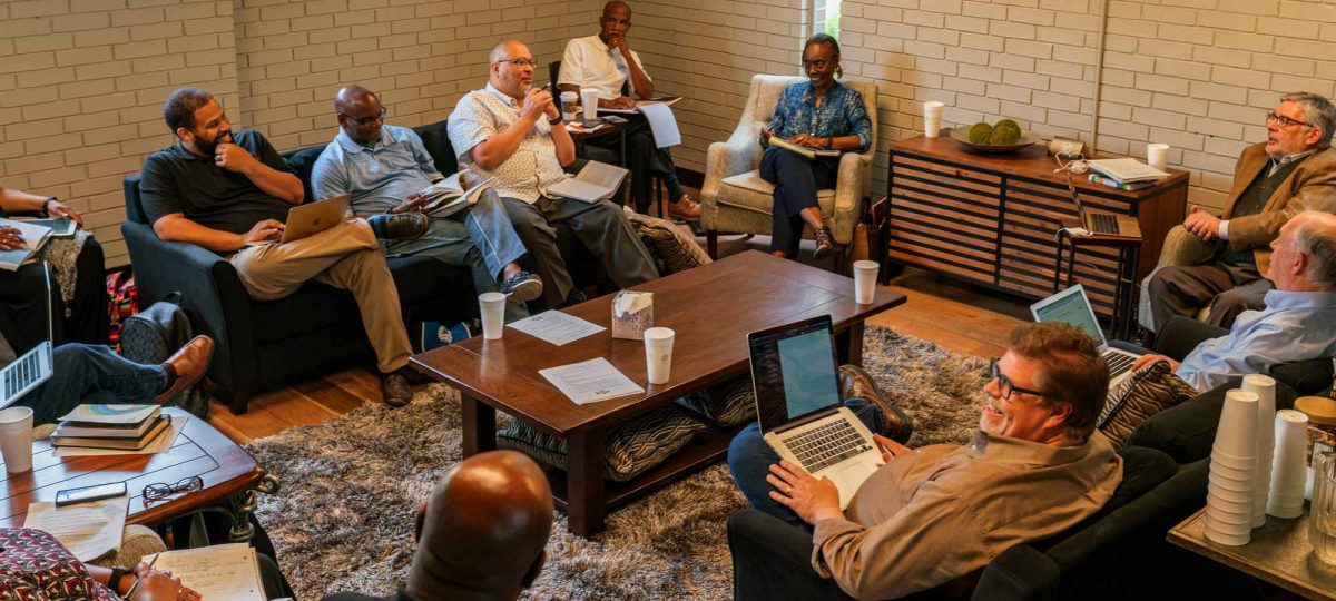 group of church leaders studying together